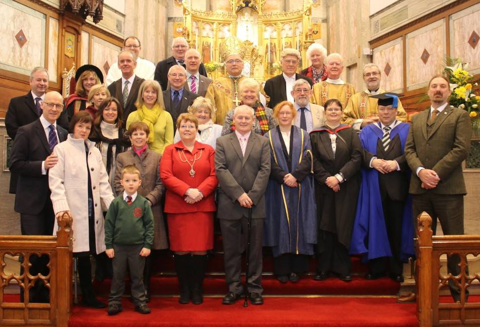 Academic and Civic leaders attending the Annual Town and Gown Mass at St Andrew's Cathedral, Dundee with Bishop Stephen Robson