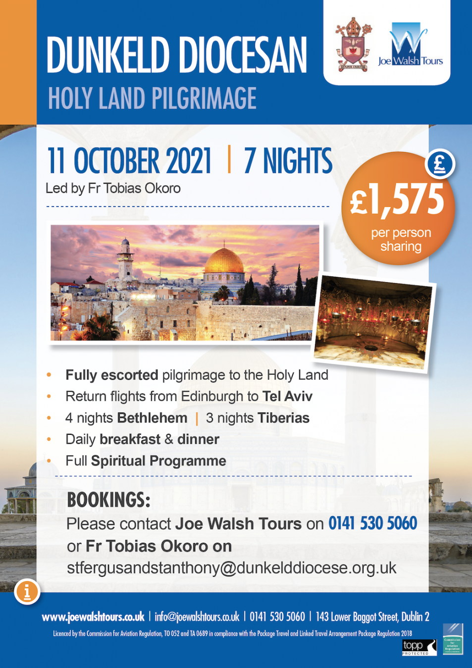 Pilgrimage Poster for Holy Land 11th October 2021