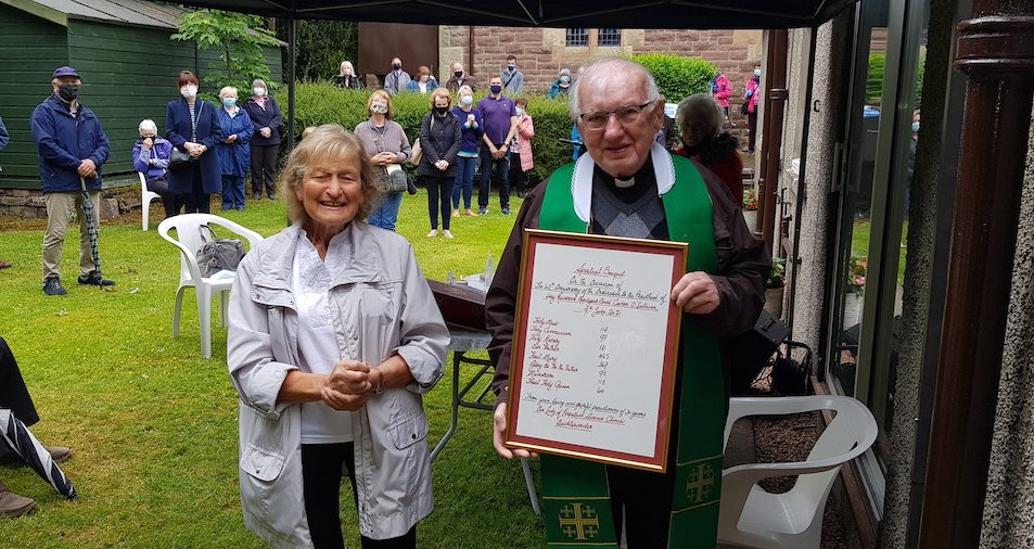 Our Lady's Auchterarder presents gifts to Mgr O'Sullivan on his 65th anniversary
